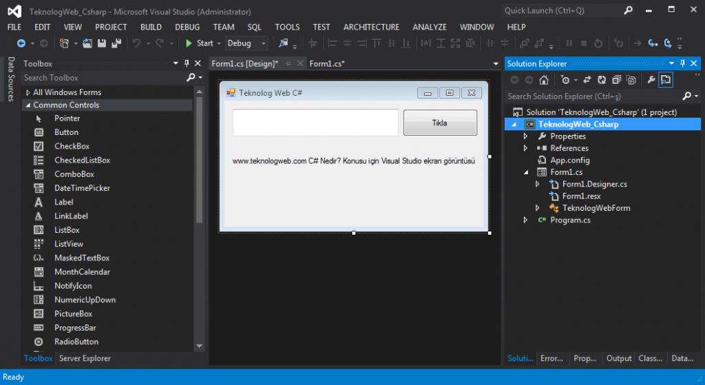 C# Nedir? Csharp Visual Studio Uygulama Örneği