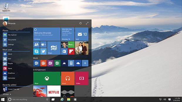 Windows 10 yeni başlat menüsü