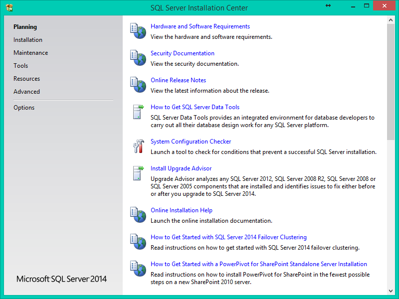 SQL Server 2014 Kurulumu Resimli Anlatım - Planning