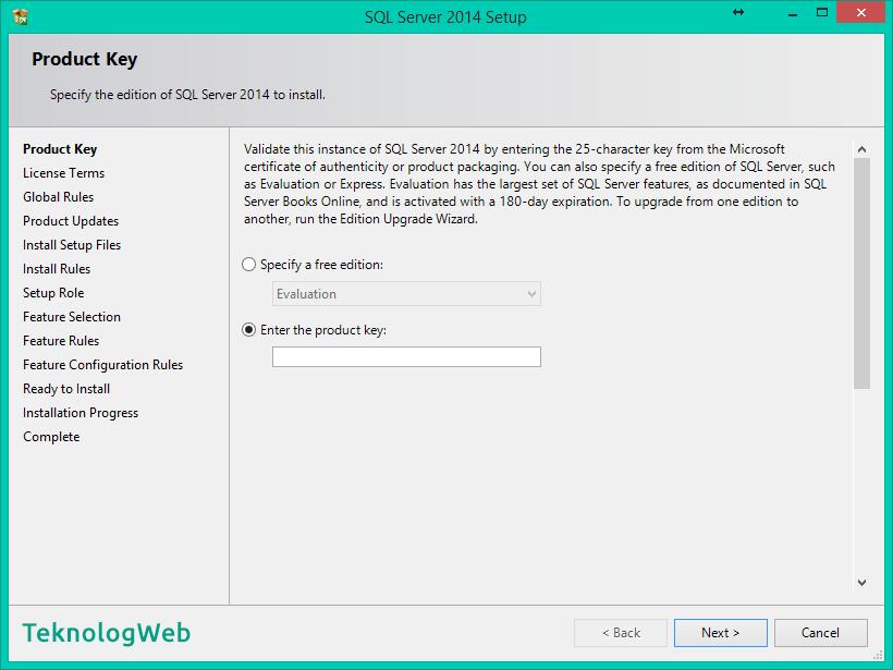 SQL Server 2014 Kurulumu Nasıl Yapılır - Product Key
