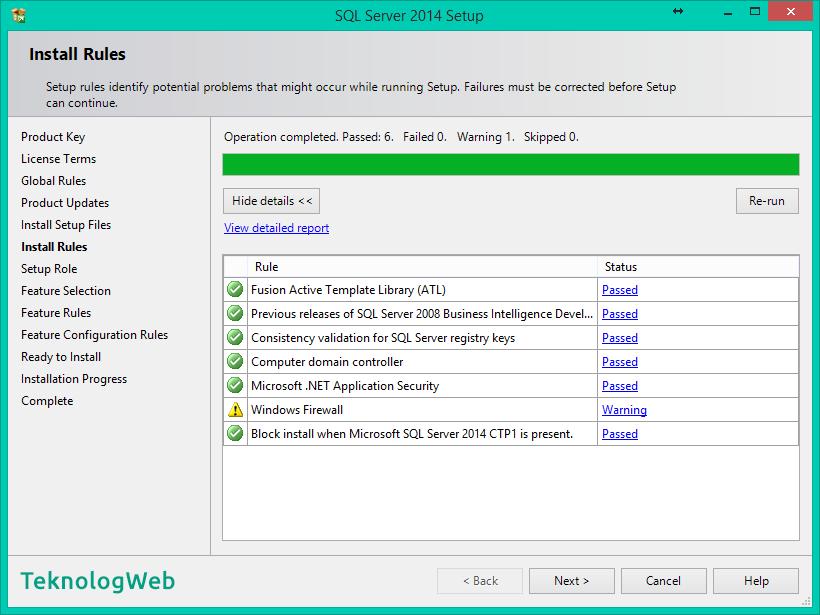 SQL Server 2014 Kurulumu Resimli Anlatım Nasıl Yapılır  - Install Rules