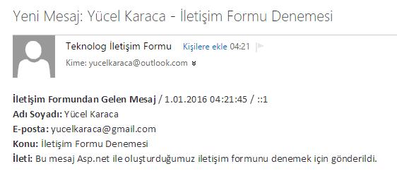 Asp.net Mail Gönderme / İletişim Formu Örneği