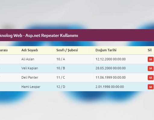 Asp.net Repeater Kullanımı (Örnek Detaylı Kullanım ile Asp.net Repeater)