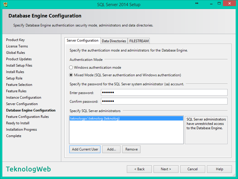 SQL Server 2014 - Database Engine Configuration