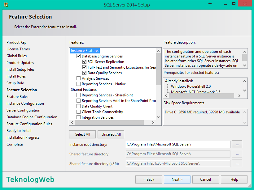SQL Server 2014 - Feature Selection
