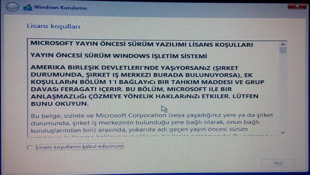 Windows 10 kurulumu - Resimli Anlatım Adım 3