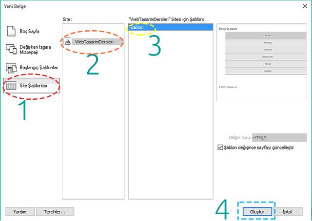 Dreamweaver ile Sayfa Oluşturma Adımları